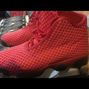 Red Air Jordan's Horizon Sneakers